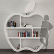 libreria design made in italy vista frontale con sagoma | bianca lucida