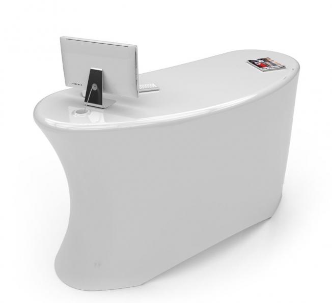 Desk Reception Design Ely Desk bianco lato sx