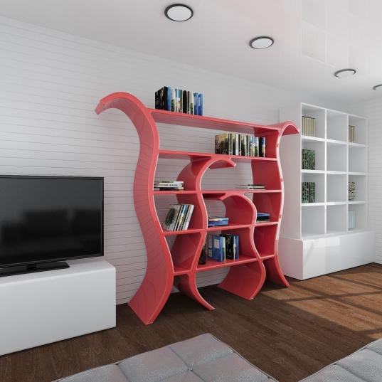 Libreria design Tulip vista sinistra ambientata