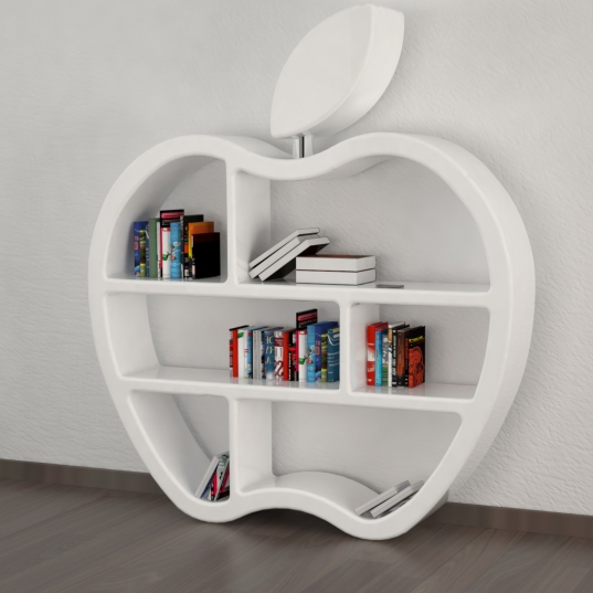 libreria design made in italy vista laterale | bianca lucida