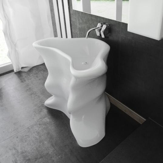 Con le forme di un Torero, Maurizio Poli realizza un Lavabo di Design in Adamantx®